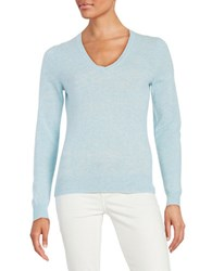 Lord And Taylor V Neck Cashmere Sweater Sky Blue Heather