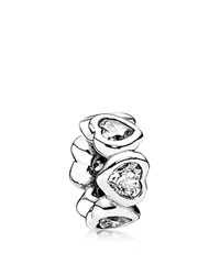 Pandora Design Pandora Spacer Sterling Silver And Cubic Zirconia Space In My Heart Moments Collection Silver Clear