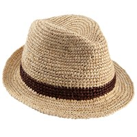 Christys' Bude Crochet Raffia Trilby Hat Natural