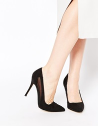 New Look Robby Black Mesh Heeled Court Shoes