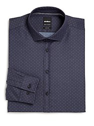 Strellson Extra Slim Fit Pindot Cotton Dress Shirt Blue
