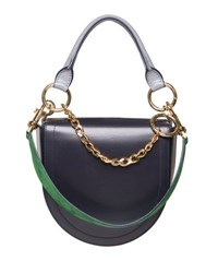 Sacai Leather Coin Bag W Chain Strap Navy