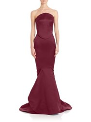 Zac Posen Strapless Mermaid Gown Sangria