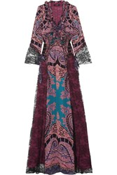Etro Lace Paneled Printed Silk Crepe De Chine Maxi Dress Purple