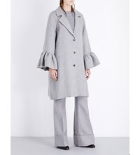 Flared Cuffs Oversized Wool And Silk Blend Coat Grey