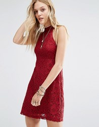 Abercrombie And Fitch Lace Halterneck Mini Dress Red Lace