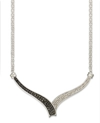 Macy's Black 1 4 Ct. T.W. And White Diamond Accent Bypass Necklace In Sterling Silver
