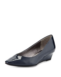 Adrienne Vittadini Prince Patent Wedge Pump Navy