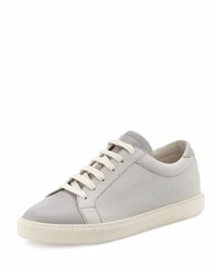 Brunello Cucinelli Men's Apollo Pebbled And Rubberized Leather Sneaker Gray