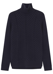Vince Navy Chevron Wool Blend Jumper