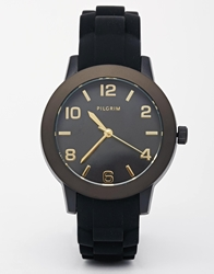 Pilgrim Gold Plated Rubber Strap Watch Black