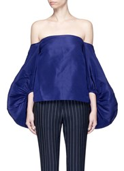 Rosie Assoulin Balloon Sleeve Silk Faille Off Shoulder Top Blue