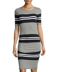 Three Dots Short Sleeve Striped Ruched Sheath Dress Women's