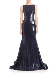 Jovani Sleeveless Beaded Sequin Gown Navy