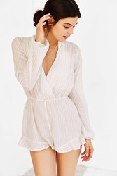 Out From Under Beach Striped Romper Blue