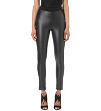 Karen Millen Skinny Faux Leather And Jersey Leggings Black