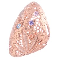 Oleana Domo Filigree And Crystals Ring Multi