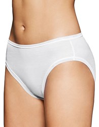 Fine Lines Pure Cotton Hi Cut Brief Panties White