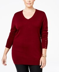 Jm Collection Plus Size V Neck Button Sleeve Sweater Only At Macy's Merlot