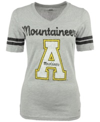 Soffe Women's Short Sleeve Appalachian State Mountaineers V Neck T Shirt Gray