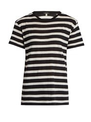 R 13 Striped Cotton And Cashmere Blend T Shirt Black White
