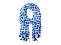 Kate Spade Island Stamped Texture Oblong Scarf Adventure Blue Scarves