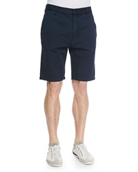 7 For All Mankind Woven Cotton Chino Shorts Navy
