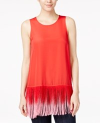 Kensie Ombre Fringe Tank Top Candy Apple Combo