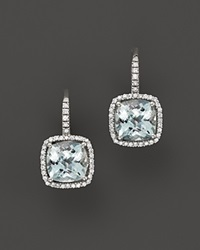 Bloomingdale's Aquamarine And Diamond Cushion Cut Drop Earrings In 14K White Gold Blue White