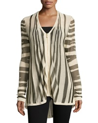 Minnie Rose V Neck Zebra Print Front Zip Cardigan Platinum