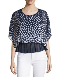 Liquid By Sioni Polka Dot Peplum Blouse Navy