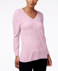 Karen Scott V Neck Sweater Only At Macy's Pink Ice