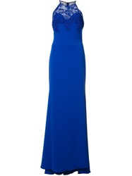 Badgley Mischka Long Halter Neck Dress Blue