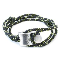 Anchor And Crew Falmouth Rope And Silver Bracelet Solid Black