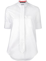 Thom Browne Shortsleeved Tie Shirt White