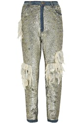 Ashish Sequined Distressed High Rise Boyfriend Jeans Metallic