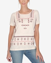 Lucky Brand Short Sleeve Embroidered T Shirt Multi