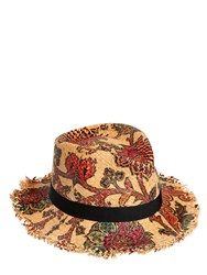 Etro Flower Printed Woven Straw Hat