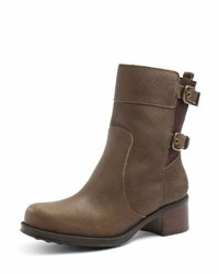 Andre Assous Laura Waterproof Leather Ankle Boot Khaki