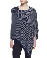 Cozy Stretch Striped Poncho Women's Black Moon Eileen Fisher Midnight Moon