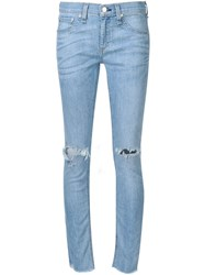 Rag And Bone Rag And Bone Jean 'Birdie' Ripped Knee Cropped Skinny Jeans Blue