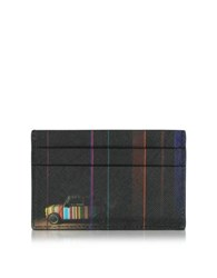 Paul Smith Men's Black Leather Mini Print Card Holder