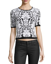 Romeo And Juliet Couture Floral Print Knit Crop Top Black White