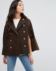 Cooper And Stollbrand Short Showerproof Cape With Hood In Khaki Brown Khaki Brown
