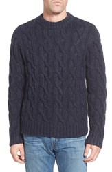Men's Schott Nyc Regular Fit Cable Knit Crewneck Wool Blend Sweater Navy
