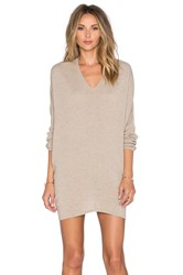 Fine Collection V Neck Sweater Dress Brown