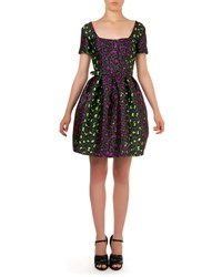 Christopher Kane Neon Leopard Print Jacquard Dress Gray Multi