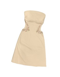 Hafize Ozbudak Opale Crystal Decorated Cut Out Strapless Dress Beige