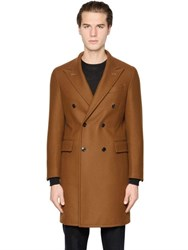 Boglioli Double Breasted Wool Blend Twill Coat