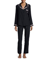 Carolina Herrera Long Sleeve Pajama Set Navy Creme Women's
